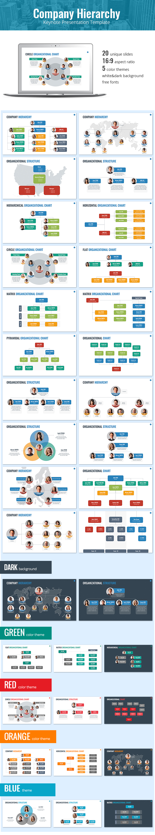 Organizational Chart and Hierarchy Keynote Template - Keynote Templates Presentation Templates