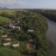 Flying Over the Town and River on Mauritius Island - VideoHive Item for Sale