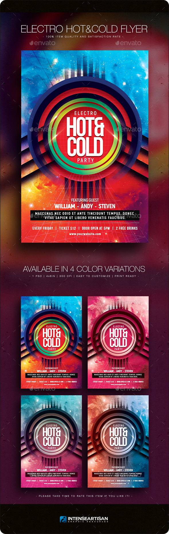 Electro Hot & Cold Flyer - Clubs & Parties Events