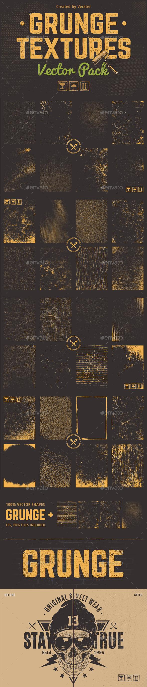Grunge Textures Vector Pack - Vectors