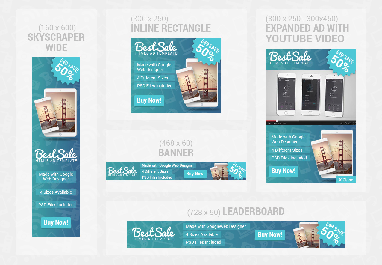 OnSale HTML Ad Template Bundle By WiselyThemes CodeCanyon - Youtube ad template