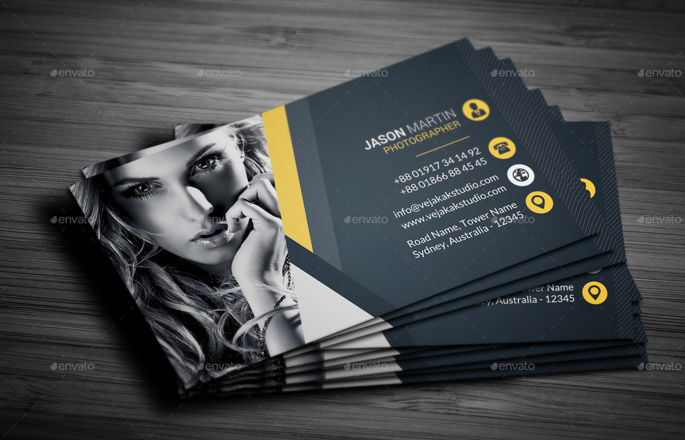Photography business card by vejakakstudio graphicriver photography business card industry specific business cards preview01g reheart Images