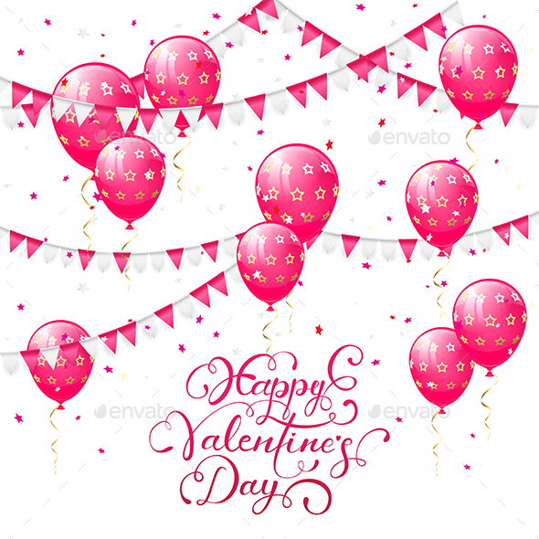 Valentines Lettering with Pink Balloons and Pennants - Valentines Seasons/Holidays