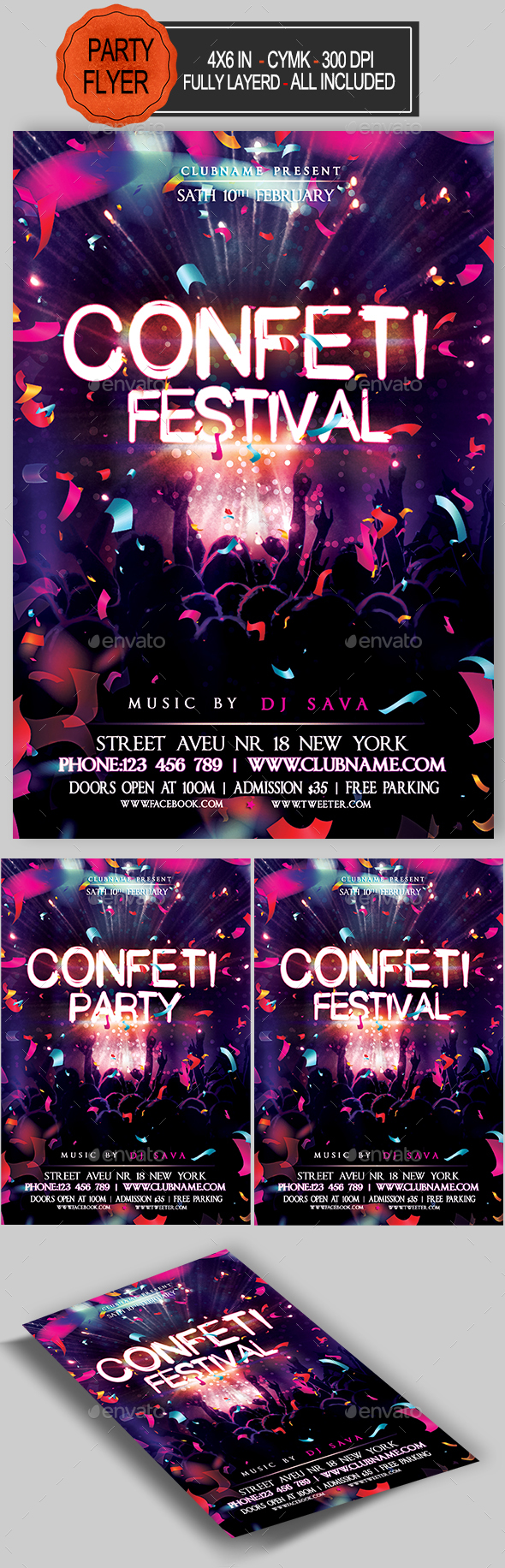 Confetti Flyer - Clubs & Parties Events