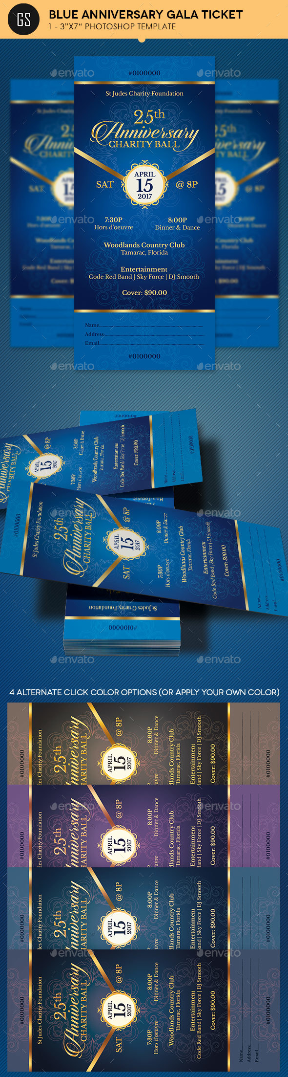 Blue Anniversary Gala Ticket Template - Miscellaneous Print Templates