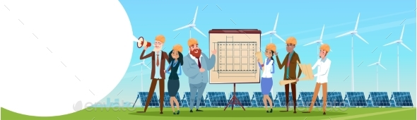 Business People Group Wind Turbine Solar Energy - People Characters