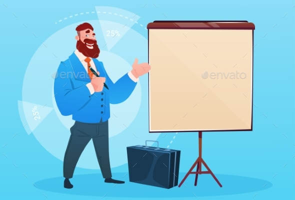 Businessman with Flip Chart Seminar Training - Concepts Business