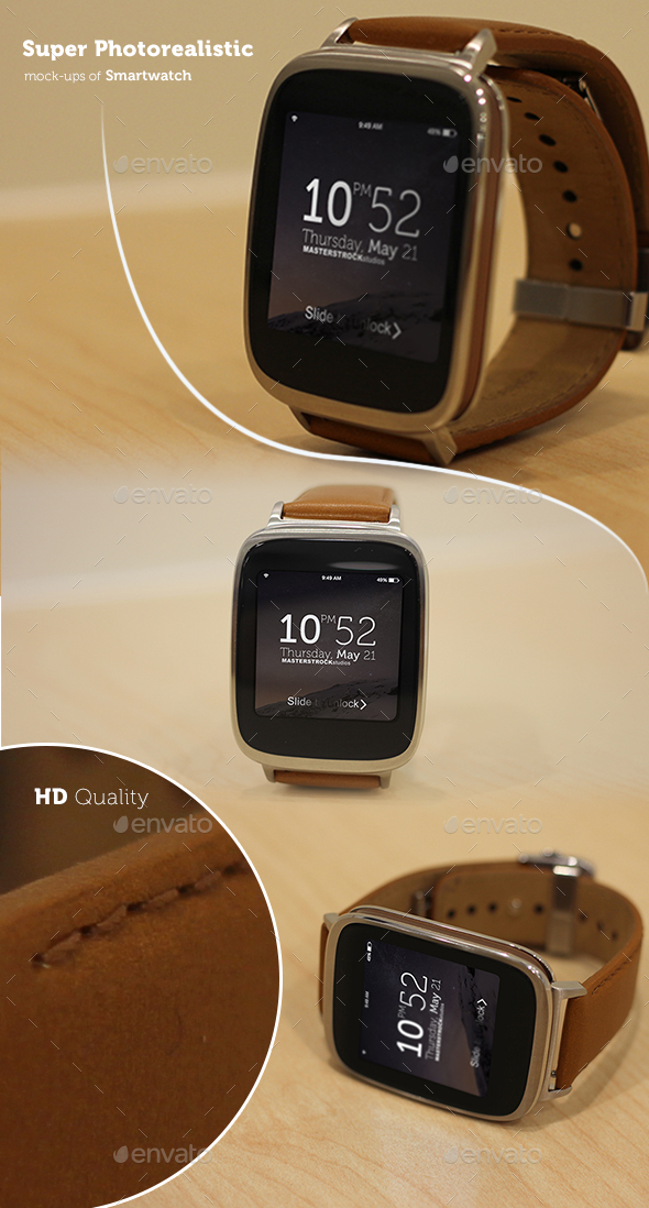 Photorealistic Smartwatch Mockup - Displays Product Mock-Ups