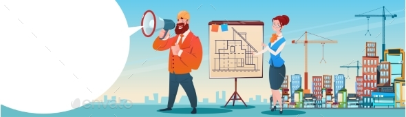 Builder Architect Holding Megaphone - Concepts Business