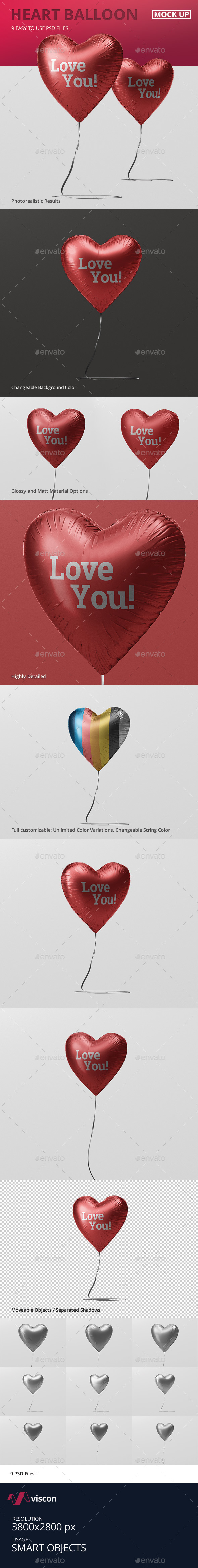 Valentine Heart Balloon Mockup - Miscellaneous Print