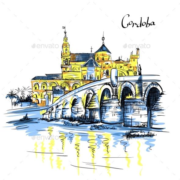 Mezquita and Roman Bridge in Cordoba Spain - Landscapes Nature