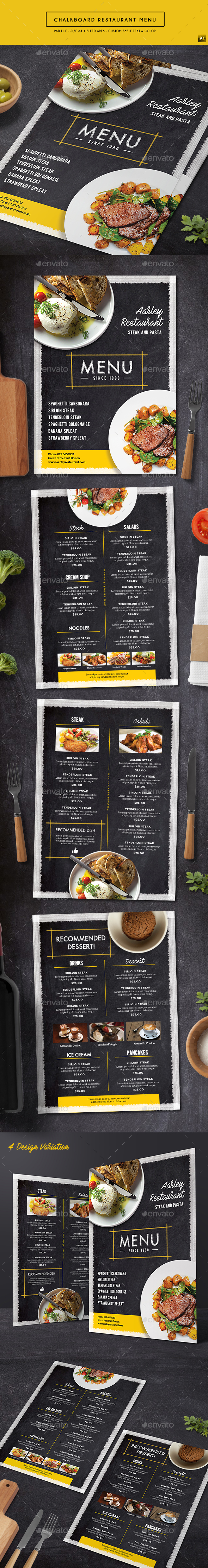 Chalkboard Restaurant Menu - Food Menus Print Templates