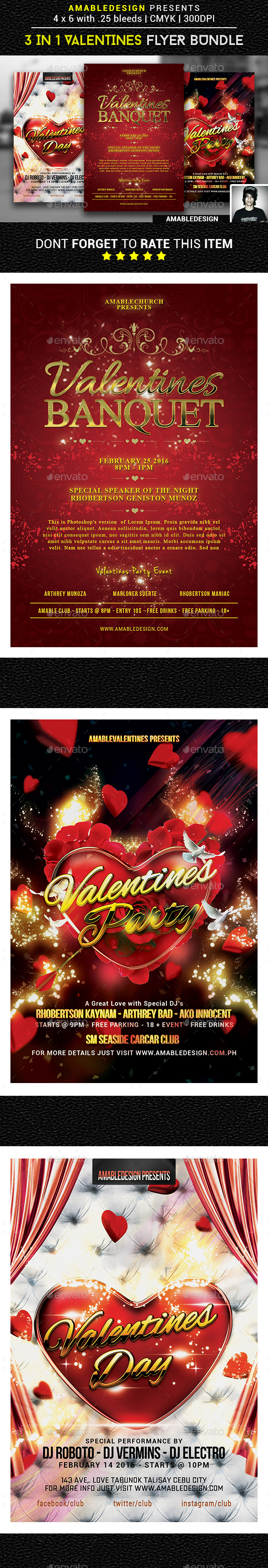 3 in 1 Valentines Flyer Vol.2 - Events Flyers