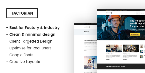 Factorian - Minimal factory & industry HTML Template - Business Corporate