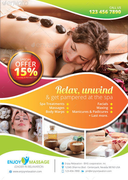 Beauty Spa And Massage Flyer Template By Tholai Graphicriver