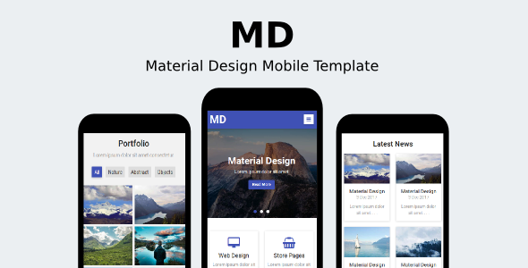 MD – Material Design Mobile Template