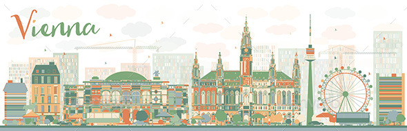 Abstract Vienna Skyline with Color Landmarks. - Buildings Objects