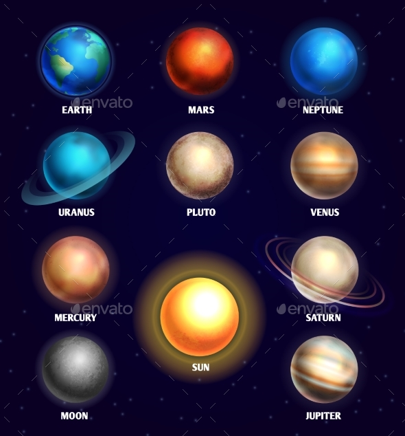 Planets of Solar System and Sun Education Vector - Miscellaneous Vectors