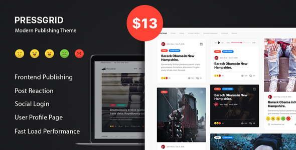 PressGrid – Frontend Publish Reaction & Multimedia Theme