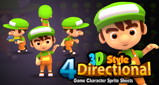 4 Directional 3D Rendered Game Sprites