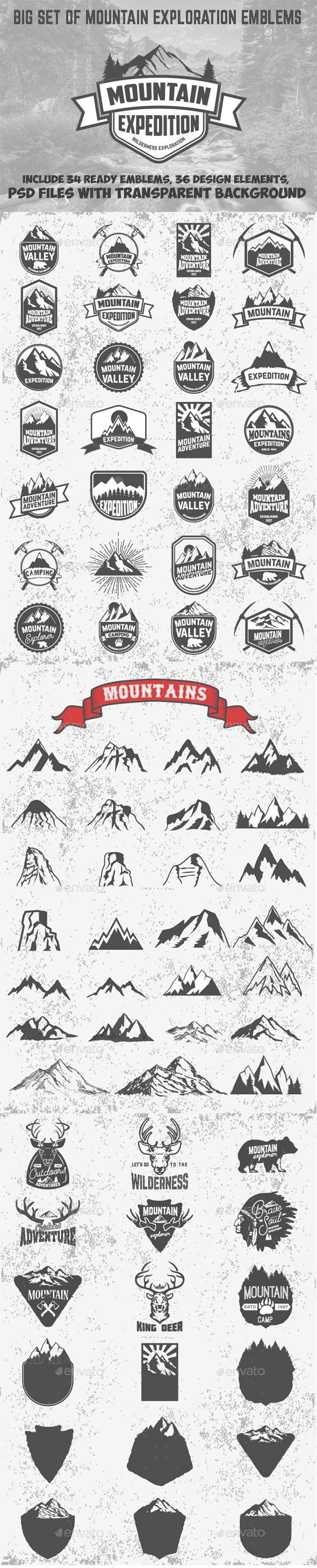 Set of Mountains Emblems and Design Elements - Travel Conceptual