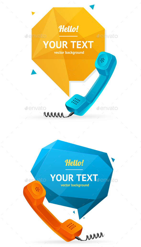 Phone Receiver with Bubble Speech. Vector - Communications Technology