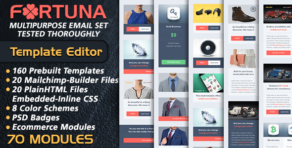 Multipurpose Ecommerce Email Builder – FORTUNA Email Marketing – Mailchimp Newsletter Builder Ready