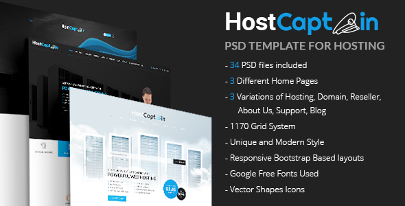 HostCaptain – Hosting and Business PSD Template