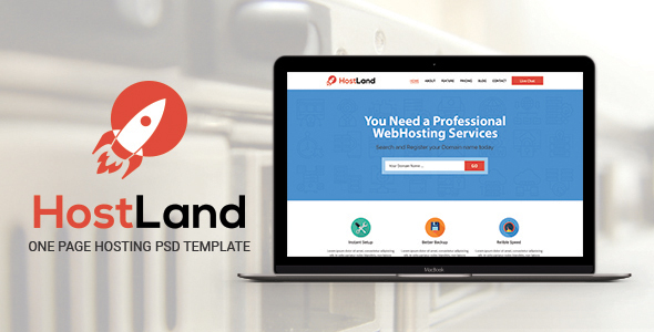 HostLand – One Page Hosting PSD Template