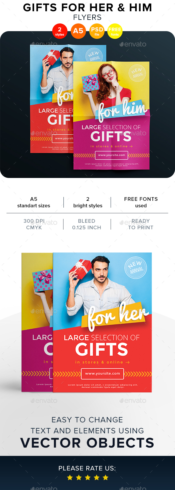 Gifts For Her & Him Flyers - Flyers Print Templates