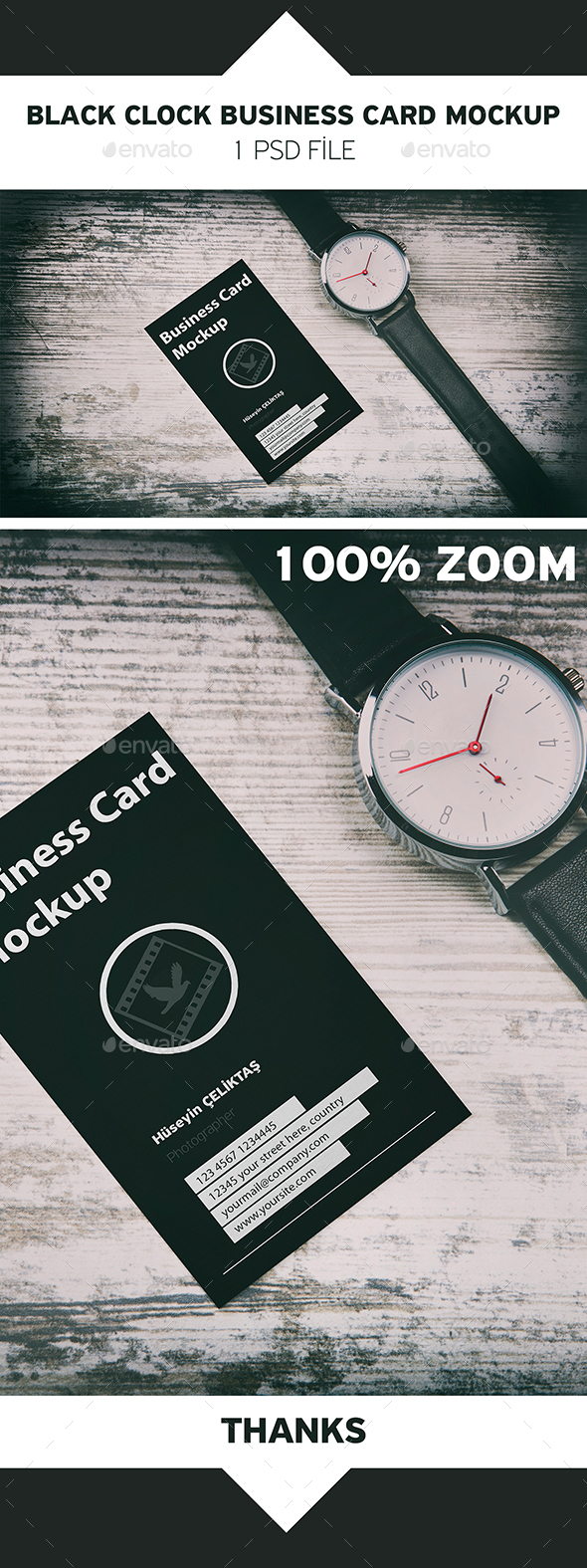 Wood Background Card Clock Mockup - Business Cards Print