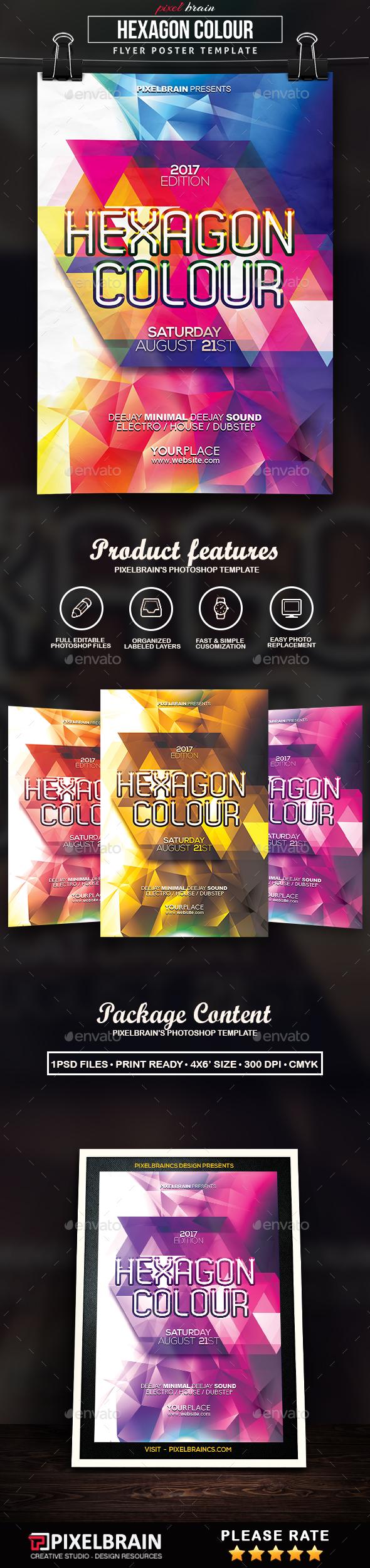 Hexagon Colour Flyer Template - Events Flyers