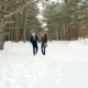 Beautiful Couple of Young People, Beautiful Happy Couple in Love Walking in the Forest, Guy Hugs Nulled
