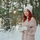 Flame Candles, Pretty Girl with Red Hair Holding a Burning Candle in Hands, Warming Fire in Winter Nulled