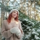 Girl Holding a Sparkler, Beautiful Girl in the Winter in the Woods, Winter Nature, Winter Fairy Tale Nulled
