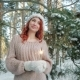 Beautiful Girl in the Winter in the Woods Nulled