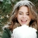 Beautiful Girl Blowing on Snow, Snowflakes Fly Nulled