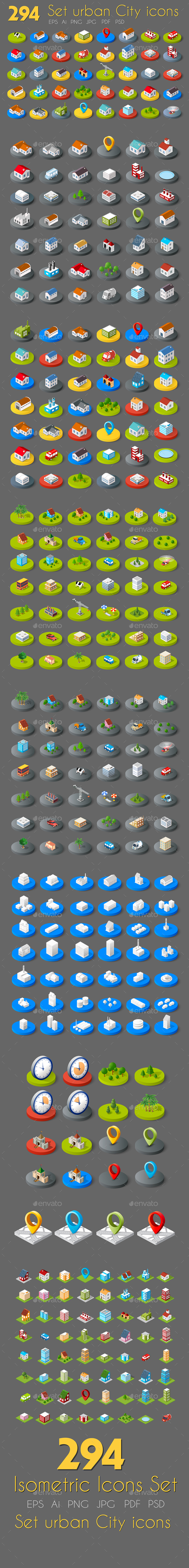 Isometric Web Icons - Buildings Objects