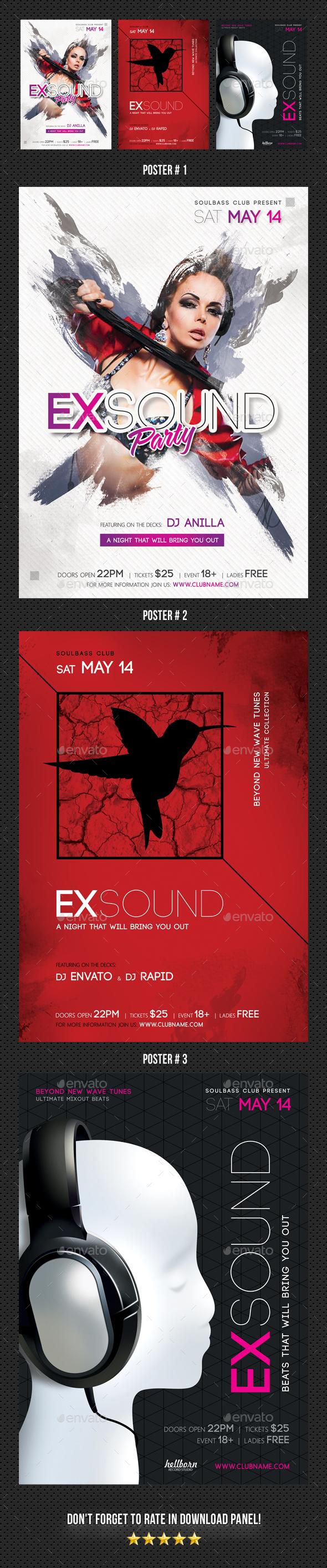 3 Exsound Music Poster Bundle - Signage Print Templates