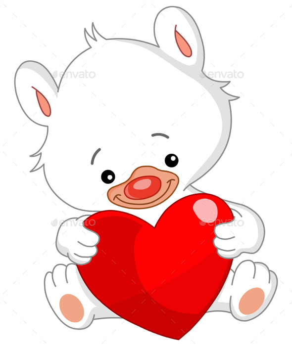 Valentine White Teddy Bear - Valentines Seasons/Holidays