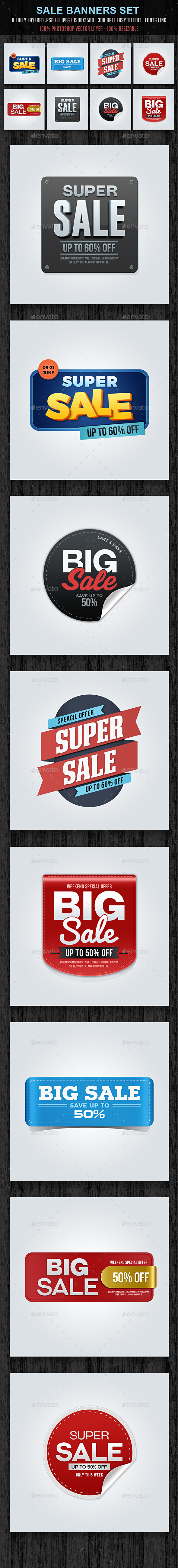 Sale Banners Set - Banners & Ads Web Elements