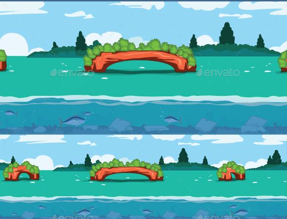 Green Bridge Background - Backgrounds Game Assets