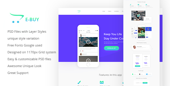 E-Buy Apps Landing PSD Template