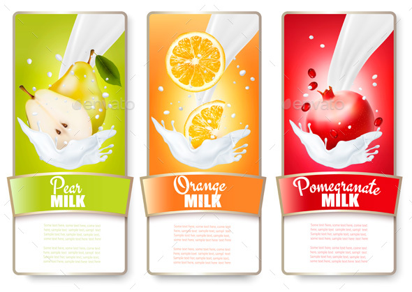 Set of Three Labels of Berries in Milk Splashes - Food Objects