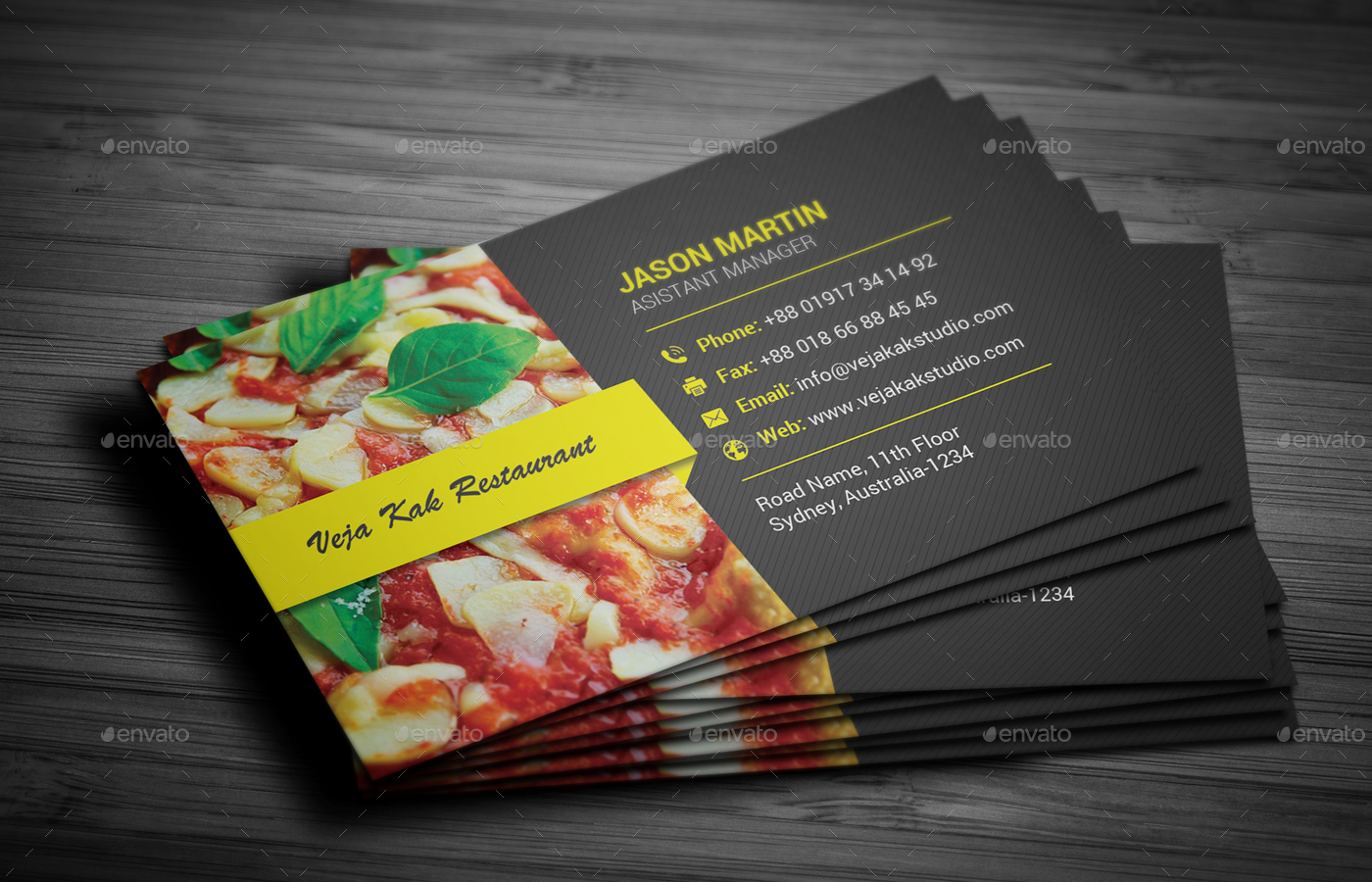 Restaurant Business Card by vejakakstudio | GraphicRiver