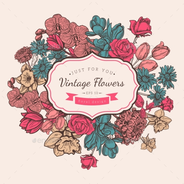 Flower Vintage Styled Sketch Background - Flowers & Plants Nature