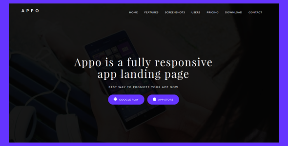 Appo Responsive app landing template - Technology Site Templates