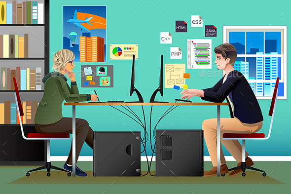 Programmer and Designer Working in an Office - Concepts Business