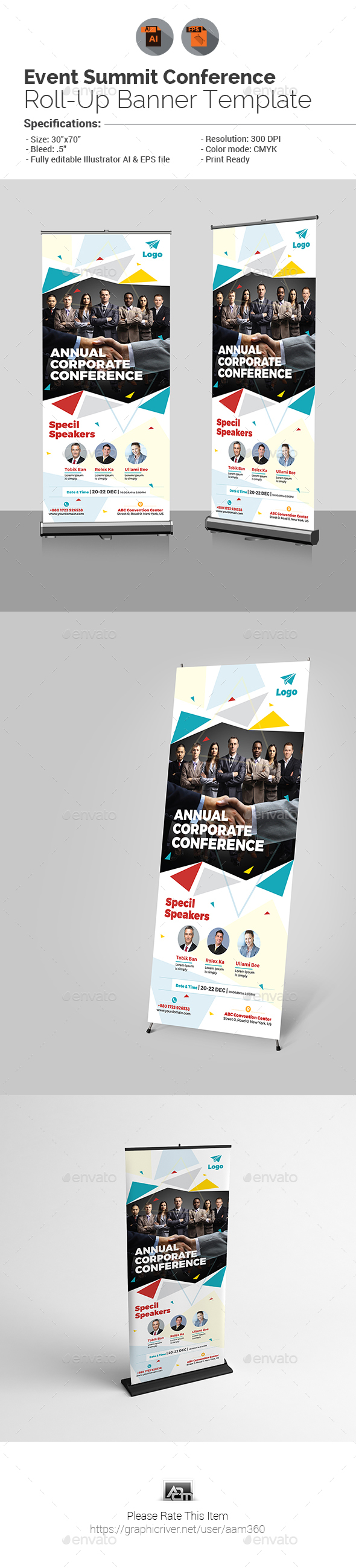 Conference Roll-up Banner Graphics, Designs & Templates
