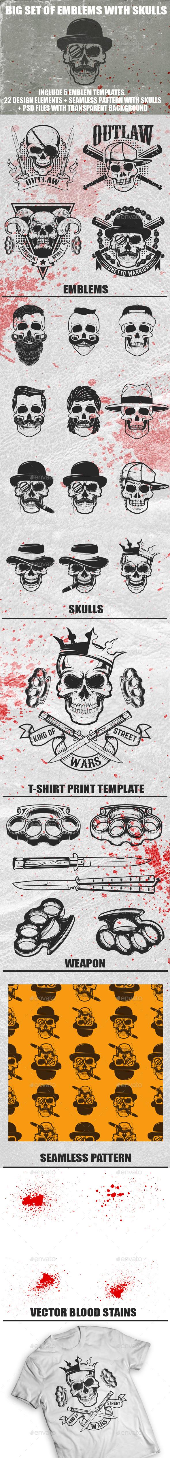Set of Emblems with Skulls - Tattoos Vectors
